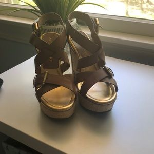 Brown and gold Audrey Brooke wedges